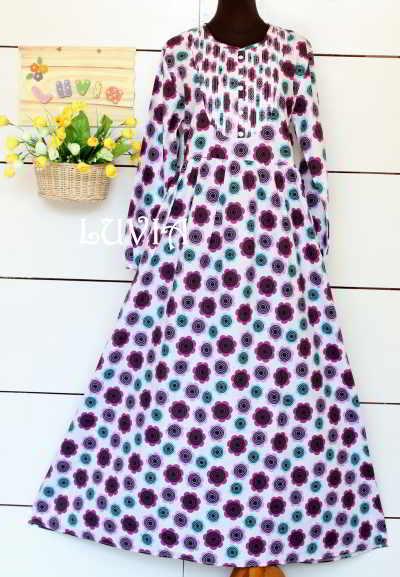 Baju Muslim Bahan Katun Jepang Motif Bunga Model