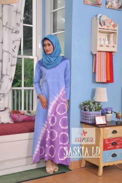Model Gamis Batik Combinasi